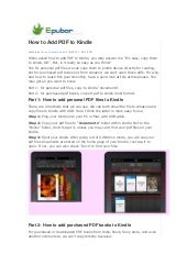 【How to add pdf to kindle】