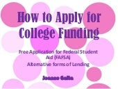 How To Apply For College Funding