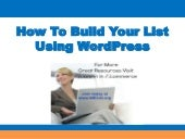 How to build your list using wordpress