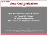 How to customize views & menues of OpenERP online in a sustainable way. Frederic Gilson, OpenERP