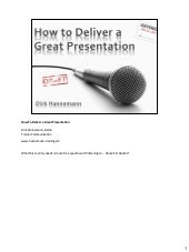 How to Deliver a Great Presentation