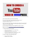 How Do You Embed A Video From YouTube InTo WordPress