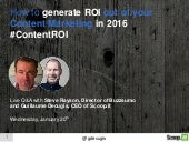 How to generate ROI out of your content marketing in 2016