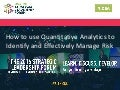 SLF SESSION | How to Identify Risk in Your Distribution Channel Using Quantitative Analytics