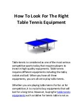 How to look for the right table ten...