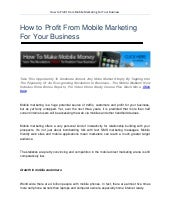 How to profit from Mobile Marketing