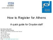 How to register for athens for croydon staff
