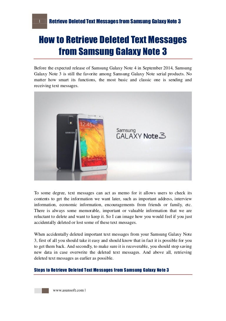 How to Retrieve Deleted Text Messages From Samsung