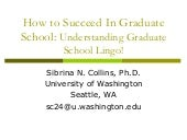 How To Succeed In Graduate School
