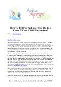 How to test for autism   how do you know if your child has autism
