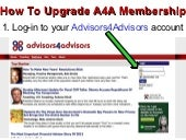 How To Upgrade Your Membership To Advisors4Advisors