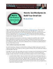 How to use wordpress to build your email list