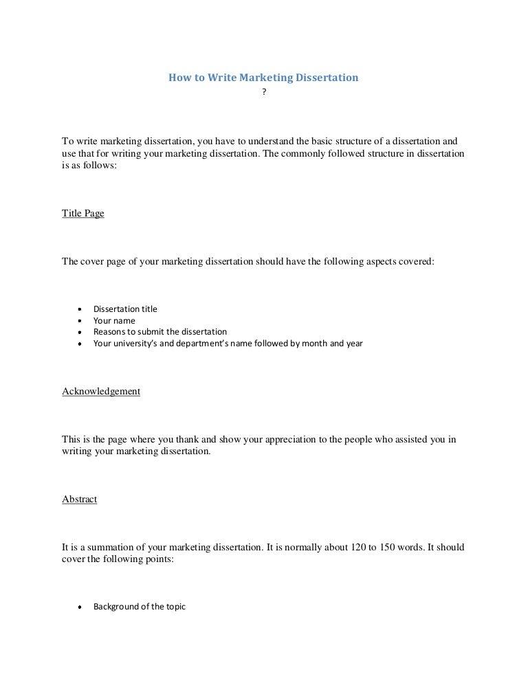 Dissertation marketing