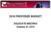 HRCA Budget - Proposed 2015 budget delegate meeting 10-21-14