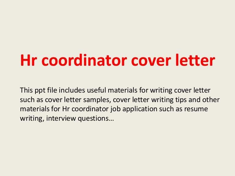 hr generalist cover letter sample Best Hr Coordinator Cover Letter Examples Livecareer
