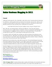 Better Business Blogging 2011