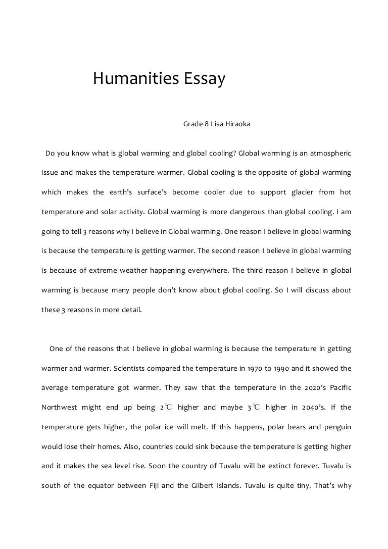 causes and effects of global warming essay