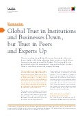 Global trust in institutions and businesses down but trust in peers and experts up