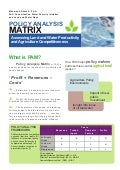 "Policy Analysis Matrix ""Assessing Land and Water Productivity and Agriculture Competitiveness"""