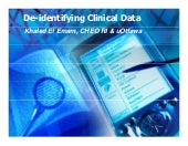 The De-identification of Clinical Data