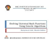 Evolving Universal Hash Function using Genetic Algorithms