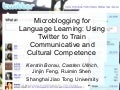 Microblogging for Language Learning: Using Twitter to Train Communicative and Cultural Competence