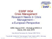 Research Needs in Crisis Management...