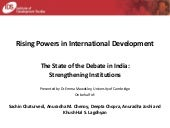 "IDS Rising Powers in International Development ""State of the Debate in India"" Chatham House presentation Oct 2014"