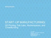START-UP MANUFACTURING: 3D Printing, Fab Labs, Hackerspaces and Crowdfunding