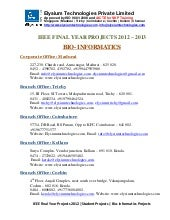 Ieee projects 2012 2013 - Bio Infor...