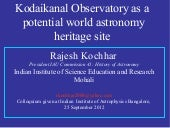Kodaikanal Observatory as a world a...