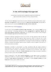 Il mito del knowledge management