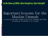 Imp Lessons For Muslim Ummah
