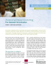 Assessing Impact Investing - Five Doorways for Evaluators