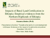 Impacts of Rural Land Certification...