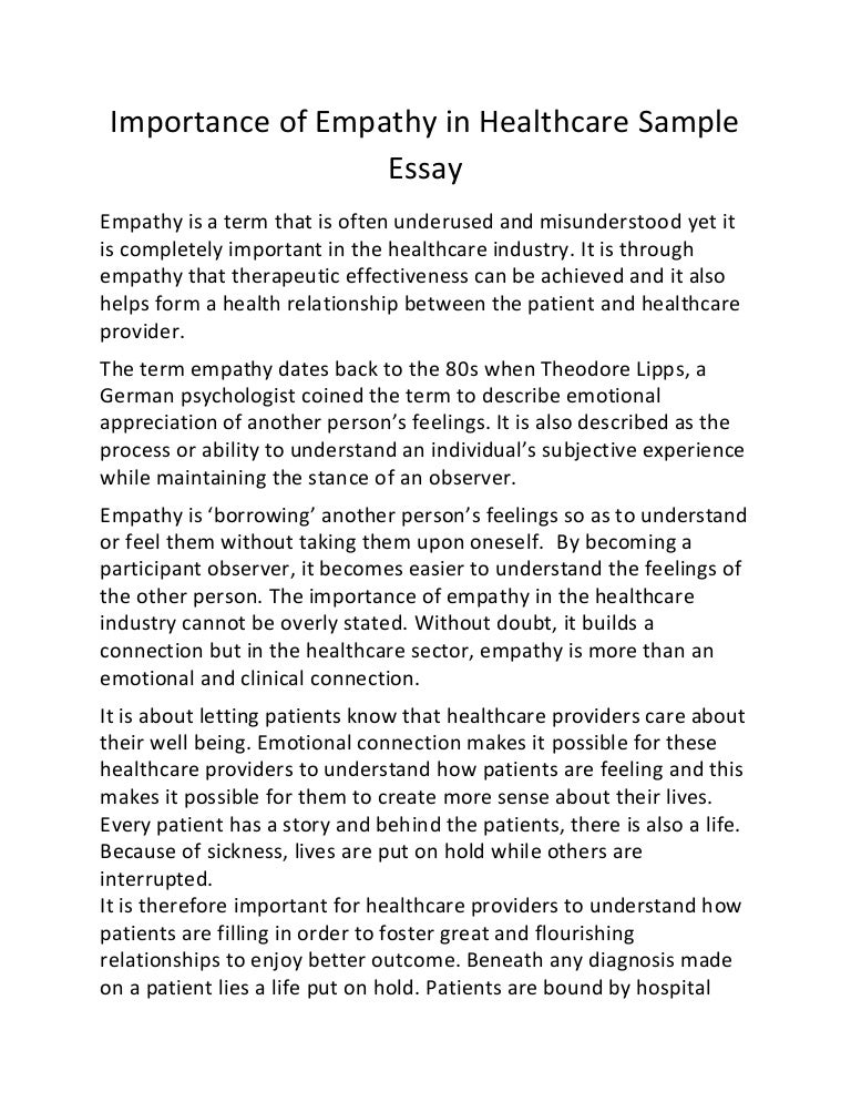 Ordinaire Importance Of Empathy In Healthcare Sample Essay