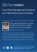How Fleet Management Systems Can Help Improve Your Business