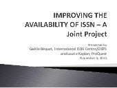 Improving the Availability of ISSN - A Joint Project