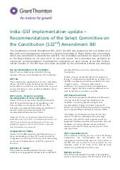 India: GST implementation update – Recommendations of the Select Committee on the Constitution (122nd) Amendment Bill