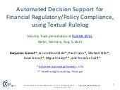 Industry@RuleML2015:  Automated Decision Support for Financial Regulatory/Policy Compliance, using Textual Rulelog