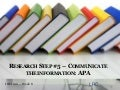 Information Literacy Week 8: APA Citations