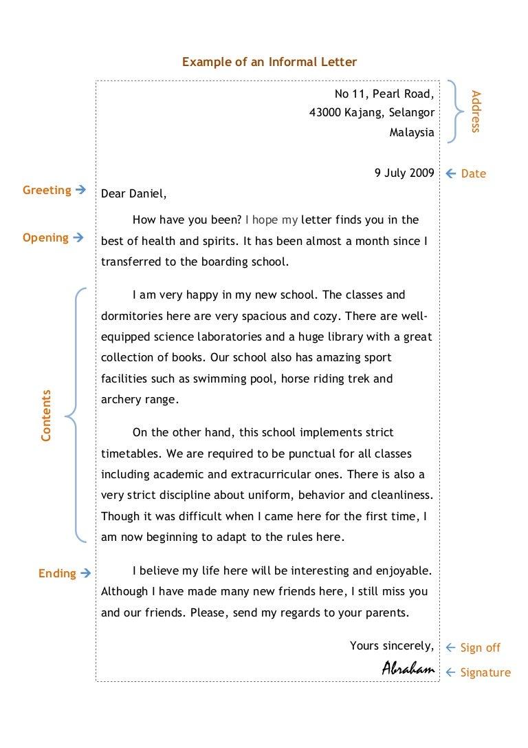Informal Letter Writing Example