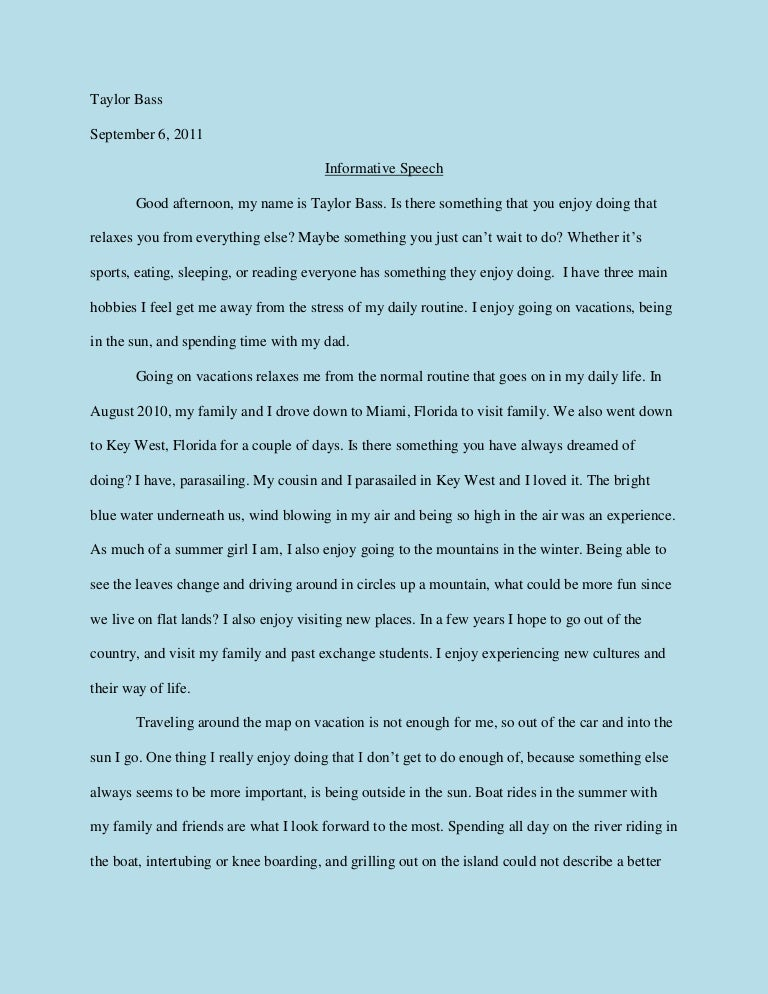 informative speech essay examples example of informative speech  informative speech hobbies sample two