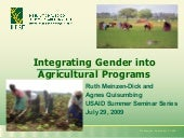Integrating Gender In Agricultural ...