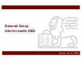 Generali Group Interim Results 2008