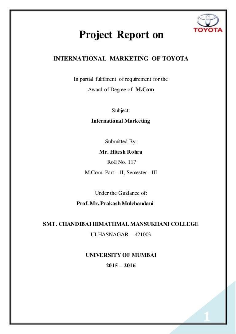 Toyota Financial Statement International Marketing Of Toyota