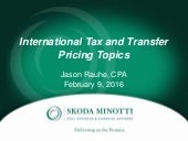 International Tax and Transfer Pricing Topics