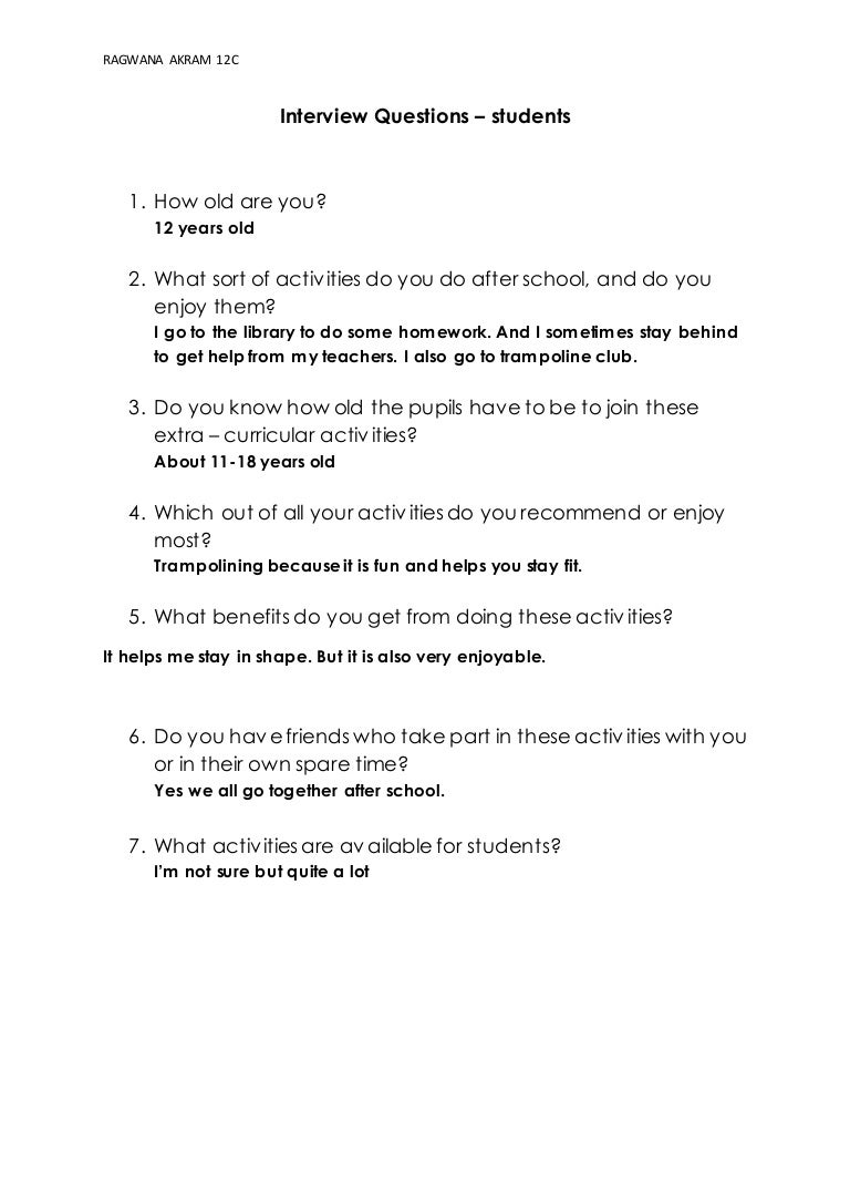 interview questions students
