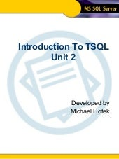 Intro To TSQL - Unit 2