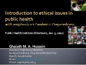 Introduction to ethical issues in p...